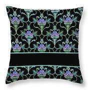 Peony Damask On Black Throw Pillow