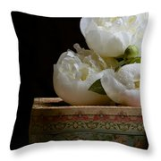 Peony Flowers On Old Hat Box Throw Pillow