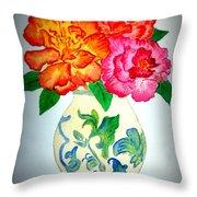 Peonys In Vase Throw Pillow