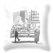 People Are Crossing The Street Looking Throw Pillow