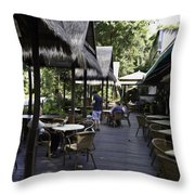 People At The Breakfast Table In A Hotel In Sentosa In Singapore Throw Pillow