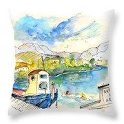 People Bathing In Barca De Alva Throw Pillow