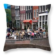People By The Canal Throw Pillow