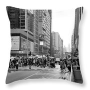 People Crossing The Street On A Rainy Day In Mong Kok Hong Kong Throw Pillow