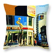 People Enjoy Beautiful Downtown Sainte Catherine Burger King Peel Scene By Hotel Comfort Suites Throw Pillow