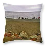 People Lined Up To Catch Capelin On The Shore Of Middle Cove-nl Throw Pillow