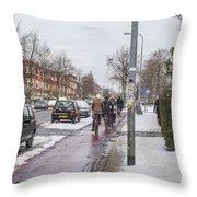 People On Bicycles In Winter Throw Pillow