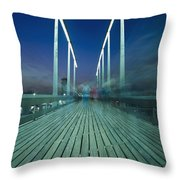 People On Swing Bridge At Dusk, Blurred Throw Pillow