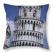 People On Top Of Leaning Tower Of Pisa Throw Pillow