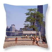 People Playing Beach Volleyball Throw Pillow