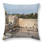 People Praying At At Western Wall Throw Pillow