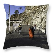 People Walking On The Path Leading To Shrine Of Vaishno Devi Throw Pillow