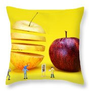 People Watching The Red Apples Throw Pillow by Paul Ge