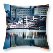Peoria Illinois Cityscape And Riverboat Throw Pillow