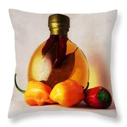 Peppers And Oil Throw Pillow