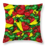 Peppers And Tomatos Throw Pillow