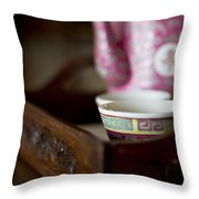 Peranakan Tea Set Throw Pillow