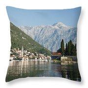 Perast In Kotor Bay Montenegro Throw Pillow
