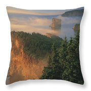 Perce Rock And The Three Sisters In Fog Throw Pillow