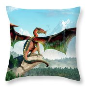 Perched Dragon Throw Pillow