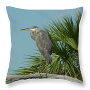 Perched Heron Throw Pillow