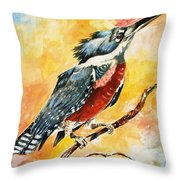 Perched Kingfisher Throw Pillow