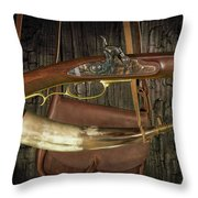 Percussion Cap And Ball Rifle With Powder Horn And Possibles Bag Throw Pillow
