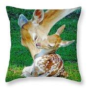 Pere David Deer And Fawn Throw Pillow