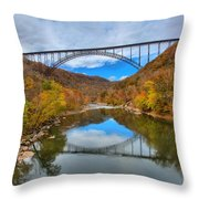 Perfect Reflections Of The New River Gorge Bridge Throw Pillow