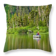Perfect Sunday - Two People Fishing On A Lake In Mammoth California. Throw Pillow