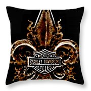 Perforated Brown Fleurs De Lys With Harley Davidson Logo  Throw Pillow