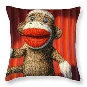 Performing Sock Monkey Throw Pillow