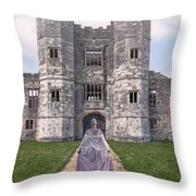 Period Lady In Front Of A Castle Throw Pillow