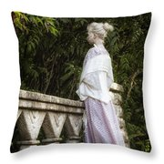 Period Lady On Bridge Throw Pillow