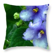 Periwinkle African Violets Throw Pillow