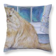 Persian Cat In Kitchen Throw Pillow