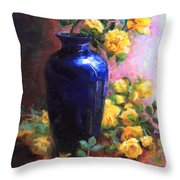 Persian Cobalt - Yellow Roses In Cobalt Vase Throw Pillow