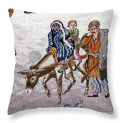 persian lady on horse with her baby              Close up photos by myself of Persian antique carpet Throw Pillow