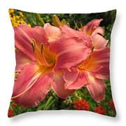 Persian Market Daylily Throw Pillow