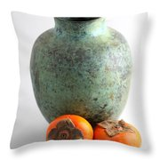 Persimmon With Vase Throw Pillow