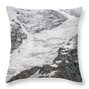 Person Cheering On A Glacier Throw Pillow