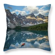 Person In Canoe On Moraine Lake, Banff Throw Pillow