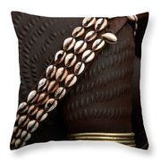 Person Showing Cowry Shell Detail Throw Pillow