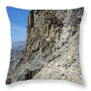 Person Walking Up Steep Stony Throw Pillow