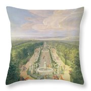 Perspective View Of The Grove From The Galerie Des Antiques At Versailles, 1688 Oil On Canvas Throw Pillow