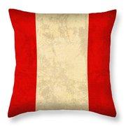 Peru Flag Vintage Distressed Finish Throw Pillow