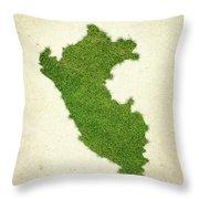 Peru Grass Map Throw Pillow by Aged Pixel