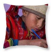 Peru Writing Lesson In Huilloc Primary School Peru Throw Pillow