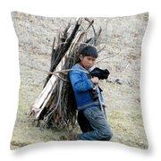 Peruvian Boy Gathers Wood Throw Pillow