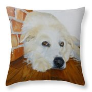 Pet Portrait Great Pyrenees Original Oil Painting On Canvas 10 X 10 Inch Throw Pillow